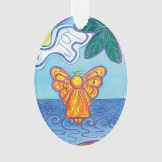 Joy and Peace Beach Angel Art Holiday Ornament