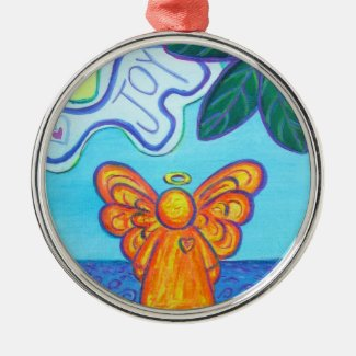 Joy and Peace Beach Angel Art Ornament Pendant