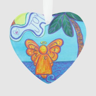 Joy and Peace Beach Angel Gift Holiday Ornament