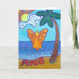 Joy and Peace Beach Angel Greeting Cards