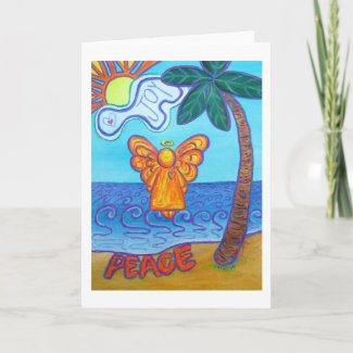 Joy and Peace Beach Angel Greeting or Note Card