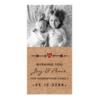 Joy and Peace Black Burlap Arrows Hearts Paper Card