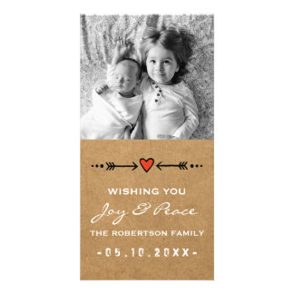 Joy and Peace Christmas White Arrows Hearts Paper Card
