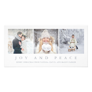 Joy and Peace   Modern Christmas Three Photos Card