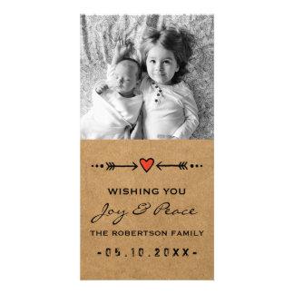 Joy and Peace Photo Christmas Arrows Hearts Paper Card