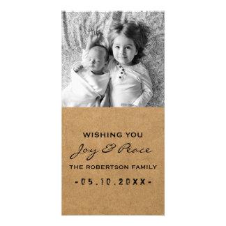 Joy and Peace - Photo Christmas Black Paper Card