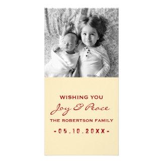 Joy and Peace - Photo Christmas Cream Red Card