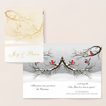 Joy and Peace Red Christmas Birds in Snowy Tree Foil Card