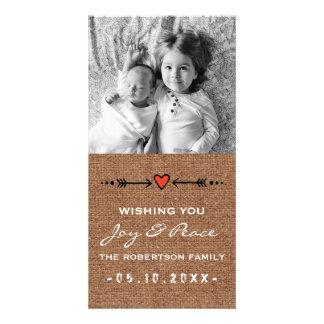 Joy and Peace White Burlap Arrows Hearts Paper Card
