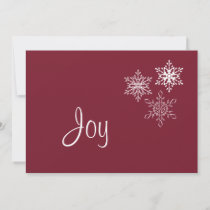 Joy and Three Snowflakes Minimal Red and White Holiday Card