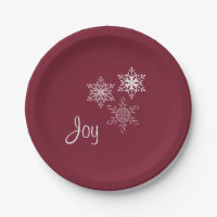 Joy and Three Snowflakes Minimal Red and White Paper Plate