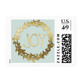 Joy And Wreath Faux Gold Foil Holiday Custom Postage Stamp