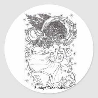 Joy Angel Classic Round Sticker