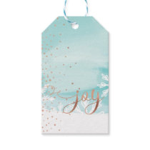 Joy | Aqua Blue Watercolor Ombre Wash Snowflakes Gift Tags