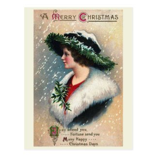 """Joy Attend You"" Vintage Christmas Postcard"