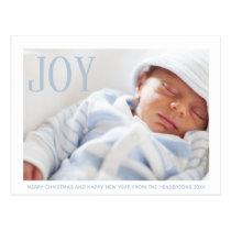 Joy Baby Photo Birth Announcement First Christmas Postcard