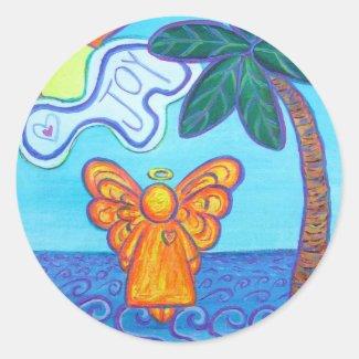 Joy Beach Guardian Angel Art Custom Stickers