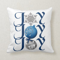Joy (blue) Christmas Throw Pillow