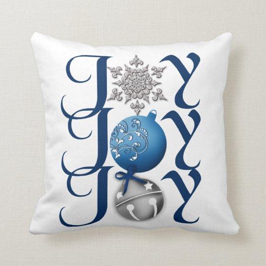 Joy Christmas Throw Pillows : Joy (blue) Christmas Throw Pillow Zazzle.com