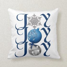 Joy (blue) Christmas Throw Pillows