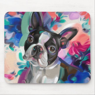 'Joy' Boston Terrier Dog Art Mouse pad