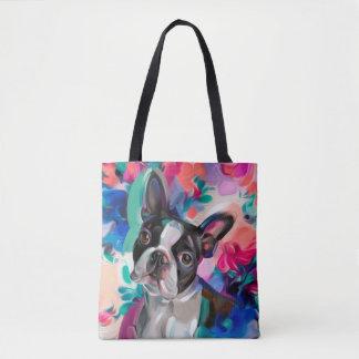 'Joy' Boston terrier dog art tote bag
