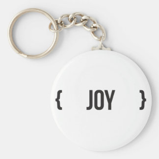 Joy - Bracketed - Black and White Basic Round Button Keychain