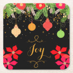 """Joy Bright Christmas Baubles Ornaments and Flowers Square Paper Coaster<br><div class=""""desc"""">Brightly colored Christmas ornaments hanging from the tree with Poinsettia style flowers and the word Joy in a gold decorative text font. The black background makes the bright colors really stand out. A perfect design for the Merry and Bright season.</div>"""