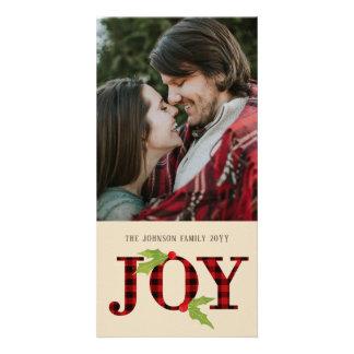 Joy Buffalo Check Rustic Plaid Christmas Photo Card