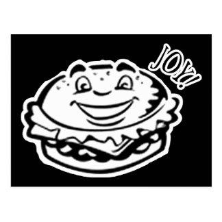 Joy Burger - Black & White Postcard