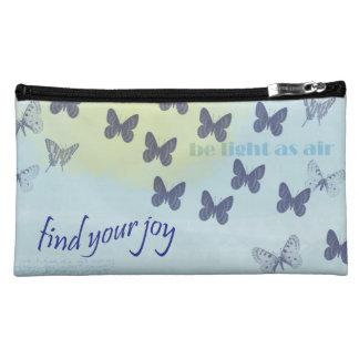 Joy Butterflies Blue Cosmetic Bags