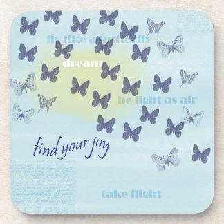 Joy Butterflies Blue Beverage Coaster