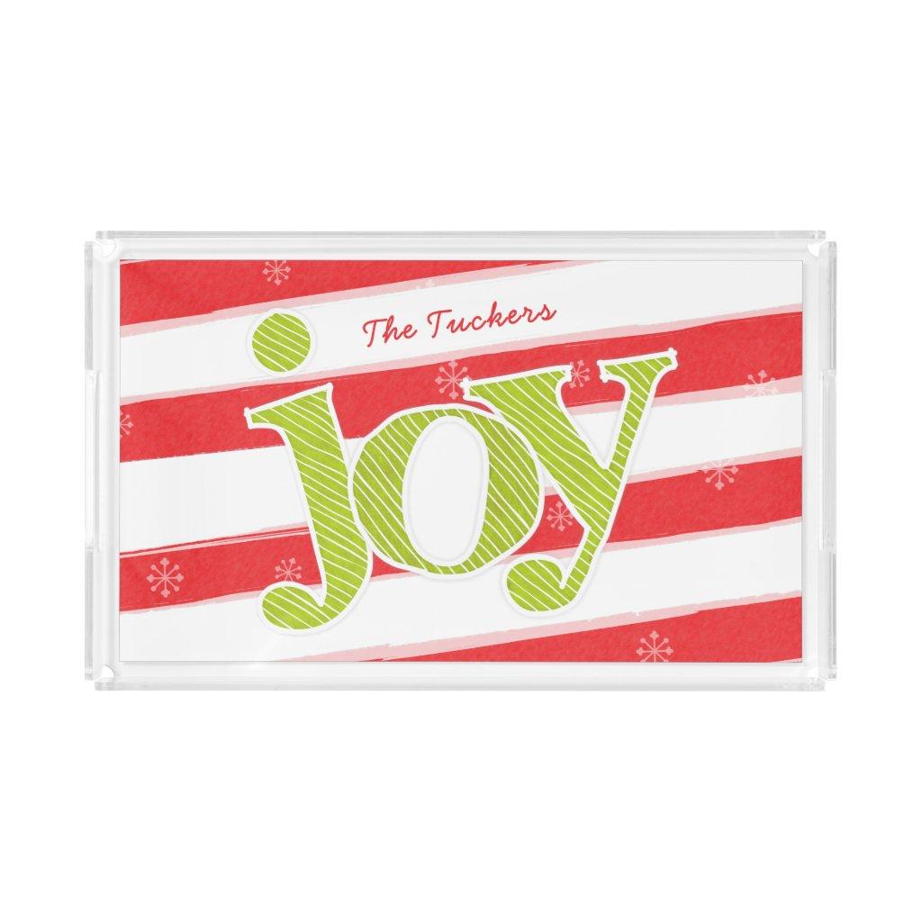 JOY Candy Cane Stripes Christmas Acrylic Tray