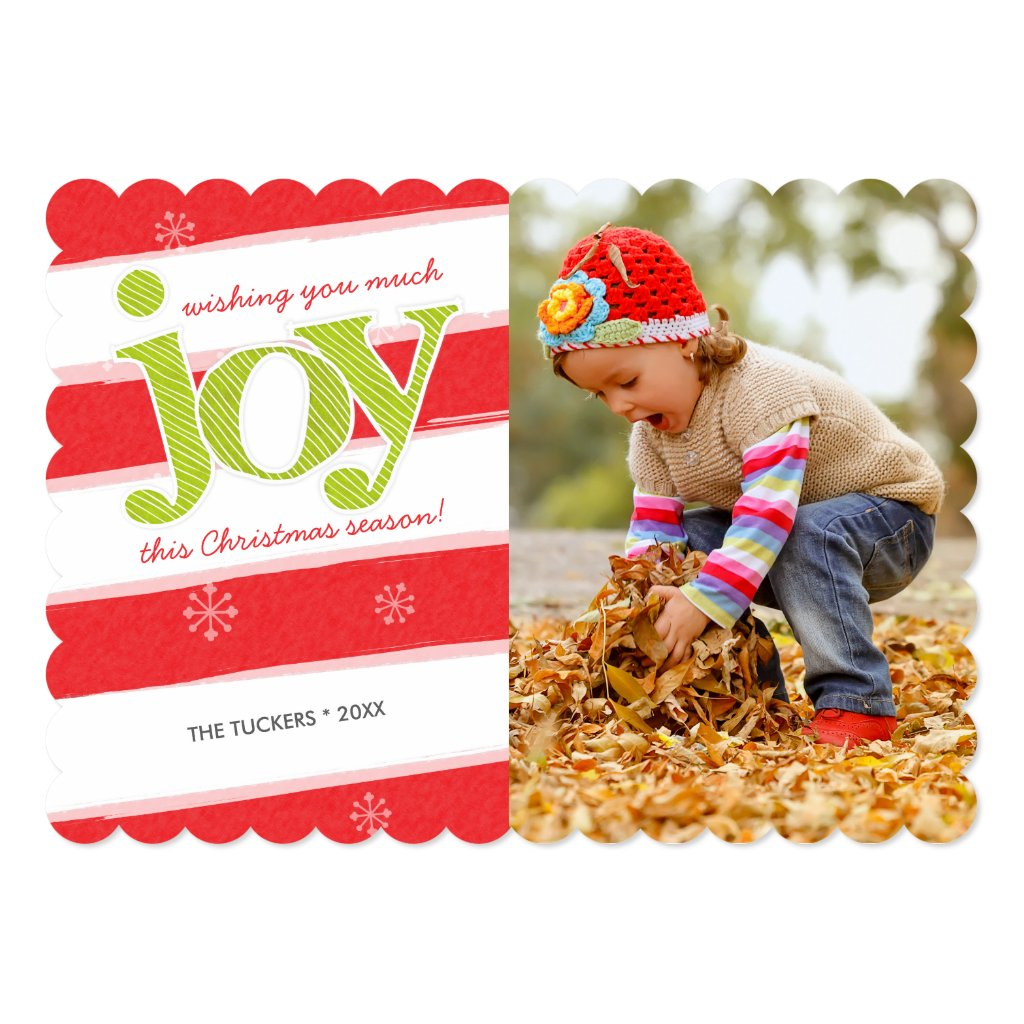JOY Candy Cane Stripes Christmas Photo Red Green Invitation