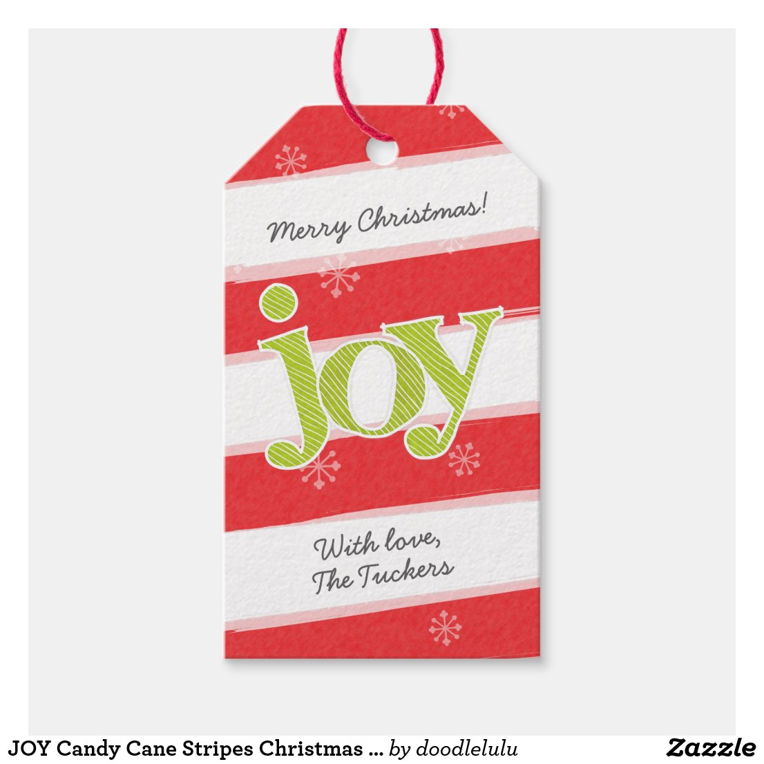JOY Candy Cane Stripes Christmas Red Green Gift Tags