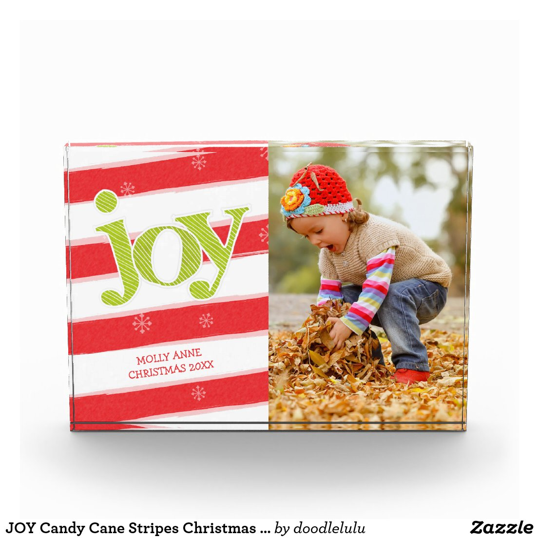 JOY Candy Cane Stripes Christmas Red Green Photo Block