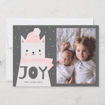 JOY, Cat, Winter, Christmas, Holiday Photo Card