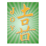JOY CHINESE MOTIVATIONAL WORD CHARACTER PICTOGRAM POSTCARD
