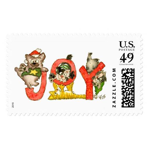 Joy Christmas Cartoon Kitten Cats Postage Stamp