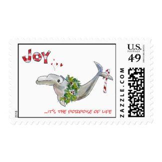 Joy Christmas Dolphin Porpoise of Life Postage