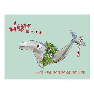 Joy Christmas Dolphin Porpoise of Life Postcard