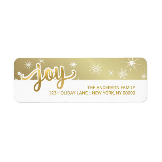 Joy Christmas Faux Gold Foil Hand Script Address Label