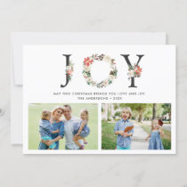 JOY Christmas Floral Wreath Two Photos Collage Holiday Card