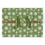Joy Christmas Green and White Snowflakes Greeting Card