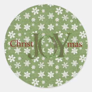 Joy Christmas Green and White Snowflakes Classic Round Sticker