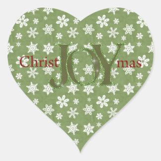 Joy Christmas Green and White Snowflakes Heart Sticker