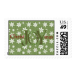 Joy Christmas Green and White Snowflakes Postage Stamps