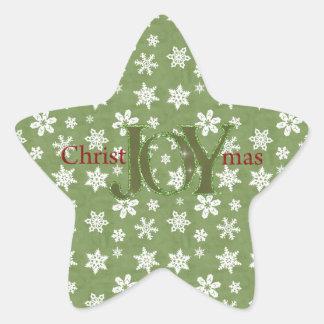 Joy Christmas Green and White Snowflakes Star Sticker