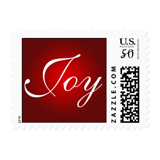 Joy Christmas Holiday Colors Red White Xmas Postage