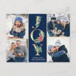 "JOY Christmas Modern 4 PHOTO Greeting Holiday Postcard<br><div class=""desc"">Christmas Modern 4 PHOTO Collage Greeting Holiday Postcard.</div>"